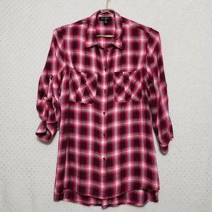 Pink/Red Plaid Button Up*Jessica Simpson *Sz S*D
